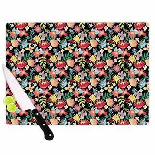 Kess InHouse DLKG Design 'Flower Power' Gold Black Cutting Board