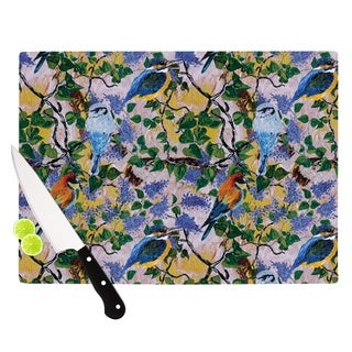 KESS InHouse DLKG Design 'Birds' Blue Yellow Cutting Board