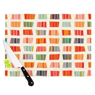 Kess InHouse Daisy Beatrice 'Beach Towels' Multicolored Tempered Glass Cutting Board