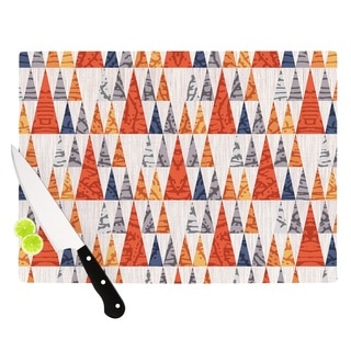 KESS InHouse Daisy Beatrice 'Tepee Town' Red White Cutting Board