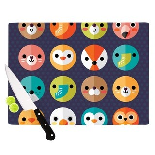 Kess InHouse Daisy Beatrice 'Smiley Faces' Animals Tempered Glass Cutting Board