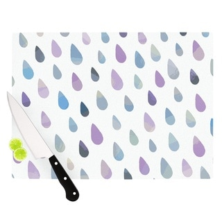 KESS InHouse Daisy Beatrice 'Opal Drops - Mist' Purple White Cutting Board