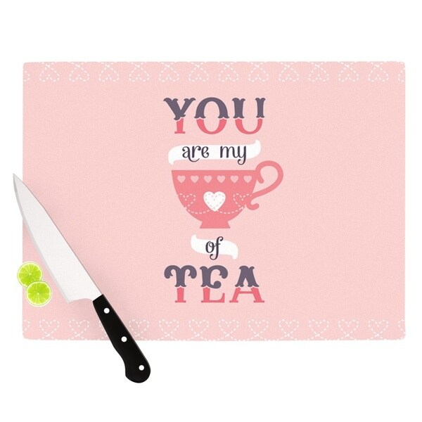 Kess InHouse Daisy Beatrice 'My Cup of Tea' Pink and Purple Tempered Glass Cutting Board