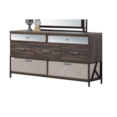 Acme Furniture Adrianna Walnut Veneer and Metal 5-drawer Dresser