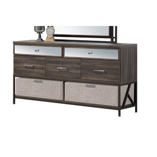 Acme Furniture Adrianna Walnut Veneer and Metal 5-drawer Dresser