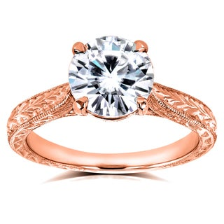 Annello By Kobelli 14k Rose Gold 1 1 2ct TGW Forever One Moissanite And Diamond Antique Cathedral Ring G H I1 I2