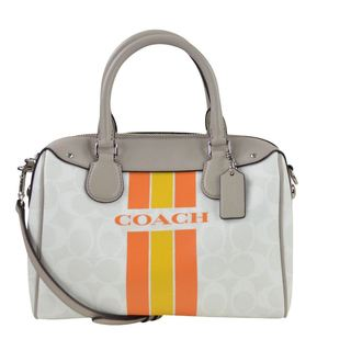 Coach 38401 Chalk Orange Varsity Stripe Mini Bennet Satchel