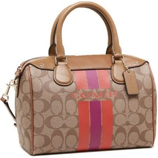 Coach Varsity 38401 Stripe Khaki Watermelon Mini Bennet Satchel