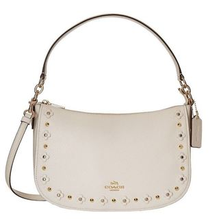 coach poppy handbags outlet 9t1e  Coach Ivory Leather Floral Rivets Chelsea Hobo Bag