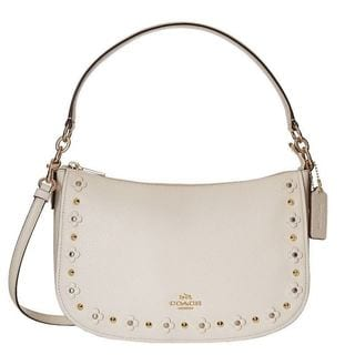 designer for discount coach bags outlet store by25  Coach Ivory Leather Floral Rivets Chelsea Hobo Bag