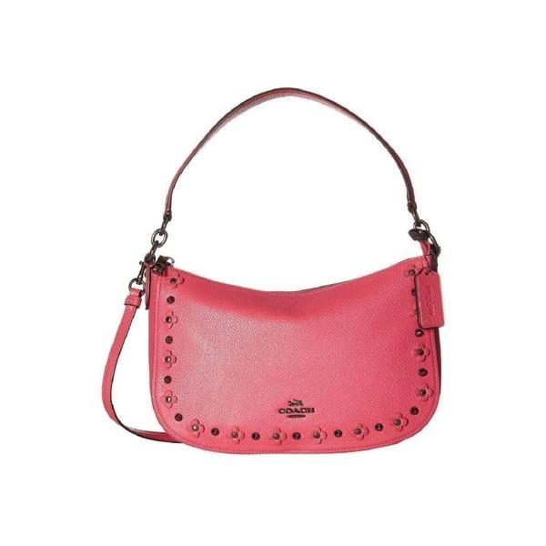 Shop Coach 37711 Pink Leather Floral Rivets Chelsea Hobo Bag On