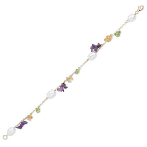 Avanti 14K Yellow Gold Pearl and Gemstone Beads Dainty Bracelet