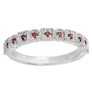14k Gold 1/5ct TDW Garnet Vintage Style Anniversary Wedding Eternity Ring