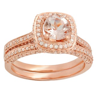 Elora 14k Rose Gold 1 1/2ct TDW Round-cut Morganite and White Diamond Bridal Ring Set (I-J, I1-I2 )