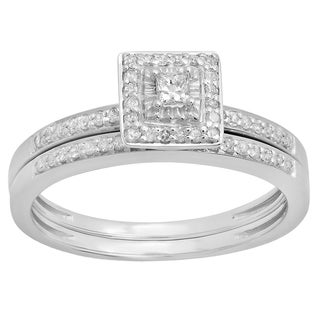 Elora Sterling Silver 1/3ct TDW Princess Round-cut Diamond Bridal Set (I-J, I2-I3)