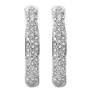 Elora 14k White Gold 3/4ct TDW Round White Diamond Fine In and Out Hoop Earrings