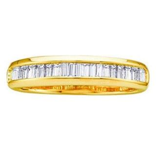 Elora 10k Gold 1/4ct TDW Baguette-cut White Diamond Anniversary Wedding Band Stackable Ring (H-I, I1-I2)