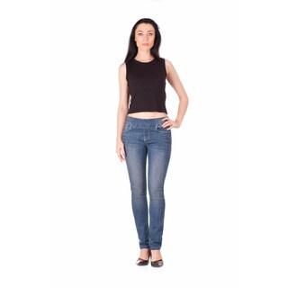 Bluberry Women's Hollie Blue Cotton Blend Plus Size Slim Leg Denim Jeans