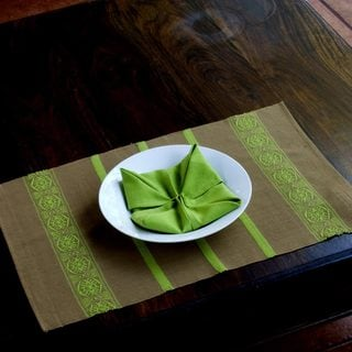 Set for 4 Handcrafted Cotton 'Highland Mystique' Placemats and Napkins (Guatemala)