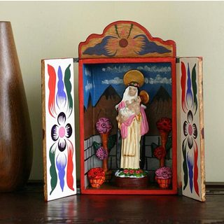 Handcrafted Plywood Ceramic 'Saint Rose of Lima' Retablo Diorama (Peru)