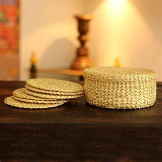 Set for 6 Handcrafted Sikki Grass 'Bihar Textures' Coasters (India)