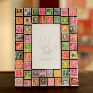 Handcrafted Decoupage 'Stamp Collector' Photo Frame (4x6) (India)