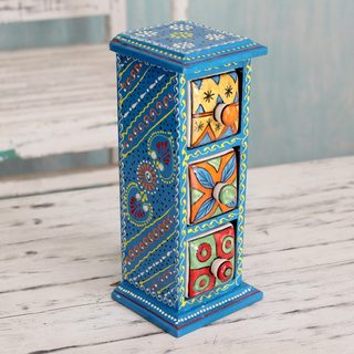 Handcrafted Mango Wood Ceramic 'Rajasthan Sky' Decorative Box with Drawers (India)