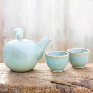 Set for 2 Handcrafted Ceramic 'Chiang Mai Blue' Celadon Tea Set (Thailand)