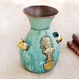 Handcrafted Copper Bronze 'Inca Blade and Wiracocha' Vase (Peru)