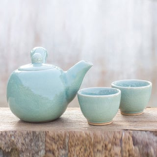 Set for 2 Handcrafted Celadon Ceramic 'Chiang Mai Sky' Tea Set (Thailand)