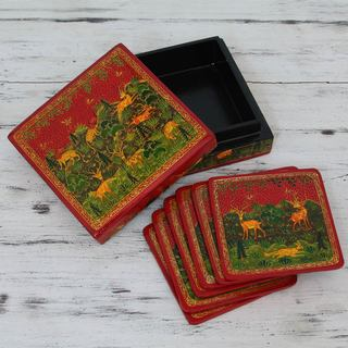 Set for 6 Handcrafted Kail Wood Paper Mache 'Medieval Forest' Coasters (India)