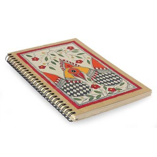 Handmade Paper 'Peacock Romance' Madhubani Journal (India)