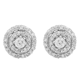 Elora 10k White Gold 1/4ct TDW Round-cut White Diamond Cluster Halo Stud Earrings (I-J, I2-I3)