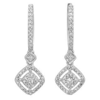 Elora 14k White Gold 1/2ct TDW Round Diamond Cluster Dangling Drop Earrings (I-J, I1-I2)