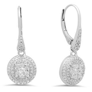 Elora 14k White Gold 3/4ct TDW Round Diamond Cluster Flower Drop Earrings (I-J, I1-I2)