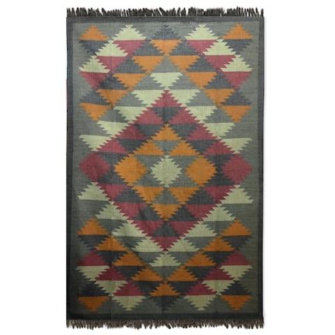 Handmade Jute 'Kashmir Kaleidoscope' Rug (6x9) (India) - 6x9
