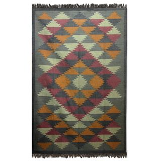 Handcrafted Jute 'Kashmir Kaleidoscope' Rug (6x9) (India)