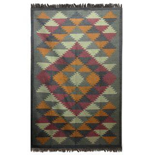 Handmade Jute 'Kashmir Kaleidoscope' Rug (India) - 6x9