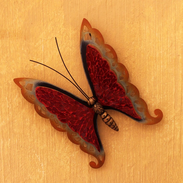 Handmade Iron Glass Scarlet Butterfly Wall Sculpture (Mexico)