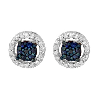 10k White Gold 1/3ct TDW Blue Sapphire and White Diamond Cluster Stud Earrings (I-J, I2-I3)