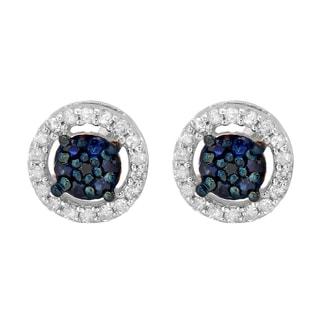 Elora 10k White Gold 1/3ct TDW Blue Sapphire and White Diamond Cluster Stud Earrings (I-J, I2-I3)