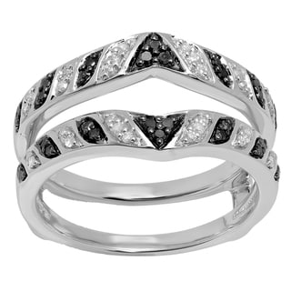 14k Gold 1/3ct TDW Black and White Diamond Anniversary Wedding Band Guard Double Ring (I-J , I1-I2)
