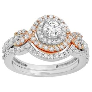 Elora 14k Two-tone Gold 1 1/10ct TDW Round Diamond Swirl Halo Bridal Engagement Ring Set (I-J, I1-I2)