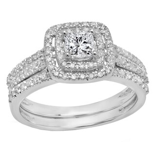 14k Gold 1ct TDW Princess-cut White Diamond Halo Style Bridal Set (I-J, I1-I2)