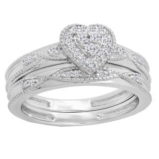 Elora 10k Gold 1/4ct TDW Round-cut Diamond Heart Bridal Set (I-J, I1-I2)