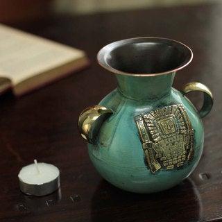 Handmade Bronze Copper 'Inca Deities' Vase (Peru)