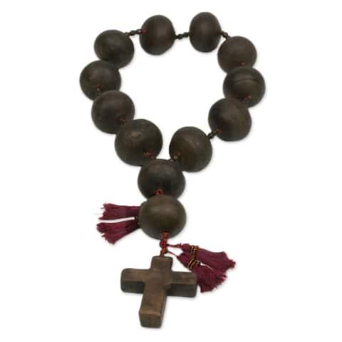 Handmade Ceramic 'Achi Cross' Wall Rosary (Guatemala)