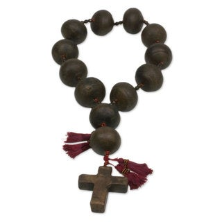 Handcrafted Ceramic 'Achi Cross' Wall Rosary (Guatemala)