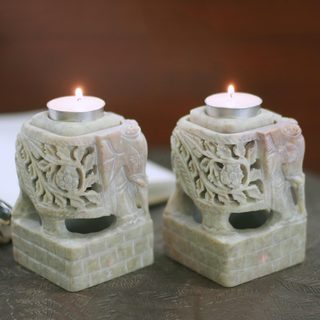 Set of 2 Handcrafted Natural Soapstone 'Floral Elephants' Candleholders (India)