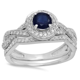 14k Gold 1 1/4ct TDW Blue Sapphire and White Diamond Bridal Set (I-J, I1-I2)